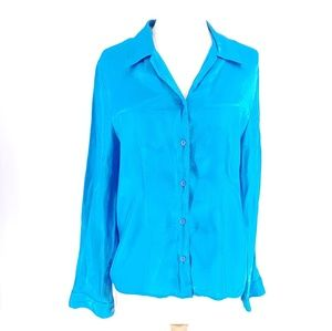 Fred David Satin Blue Button Up Long Sleeve Blouse